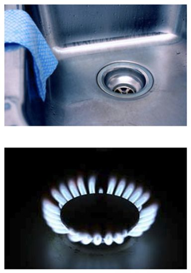 Kitchen sink and gas flame
